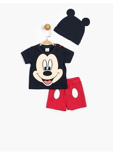 Mickey Mouse Disney Şortlu Takım ve Şapka 15593 Lacivert